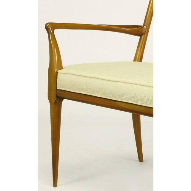 Pair of Bert England Sculpted Walnut and Off-White Linen Slatback Armchairs - Image 6 of 7