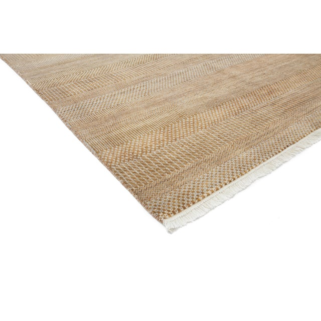 "New Tonal Stripe Hand Knotted Area Rug - 9'1"" x 12'6"" - Image 3 of 4"