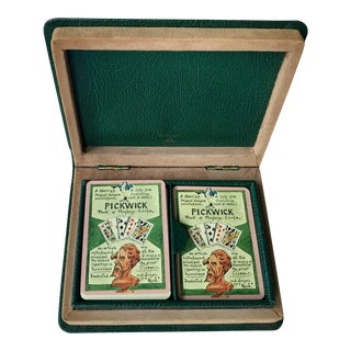 T Anthony Pickwick Playing Card Set in Leather Book Case For Sale