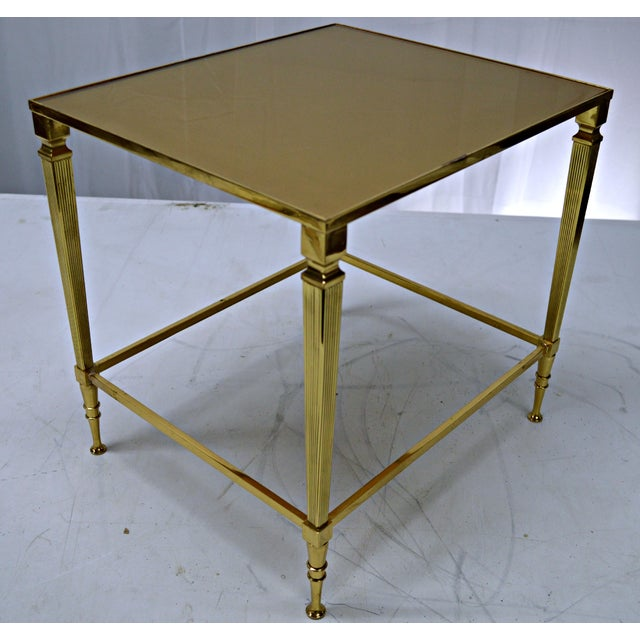 Neoclassical Brass & Glass Auxiliary Side Table - Image 6 of 10