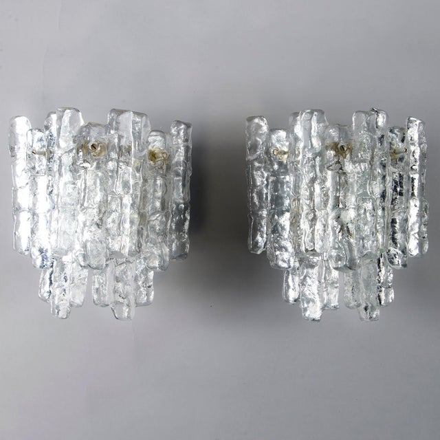 1970s Pair Kalmar Ice Glass Sconces Austria For Sale - Image 5 of 5
