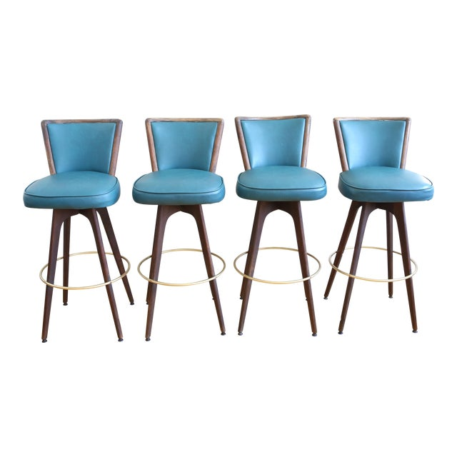 Mid Century Modern Vintage Swivel Bar / Counter Stools - Set of 4 - Image 1 of 9