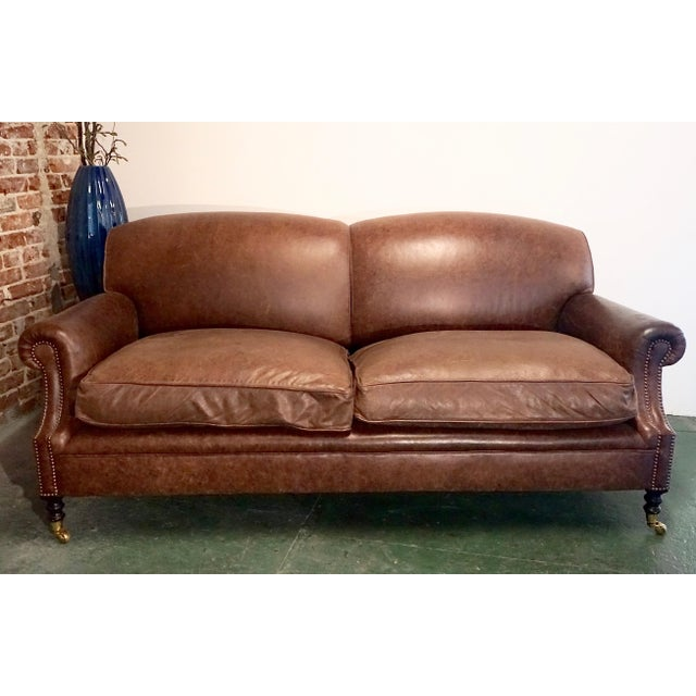"""Modern George Smith 70"""" Chocolate Brown Leather Three Seater Sofa For Sale - Image 11 of 11"""