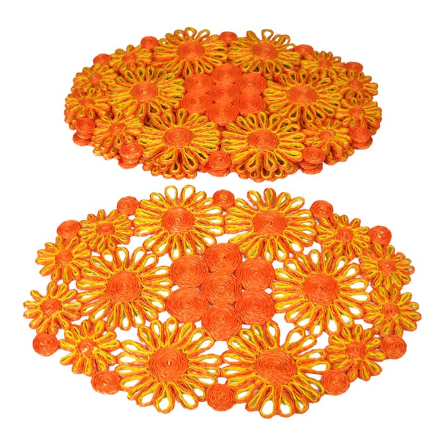 1970s Floral Raffia Placemats - Set of 4 - Image 1 of 9