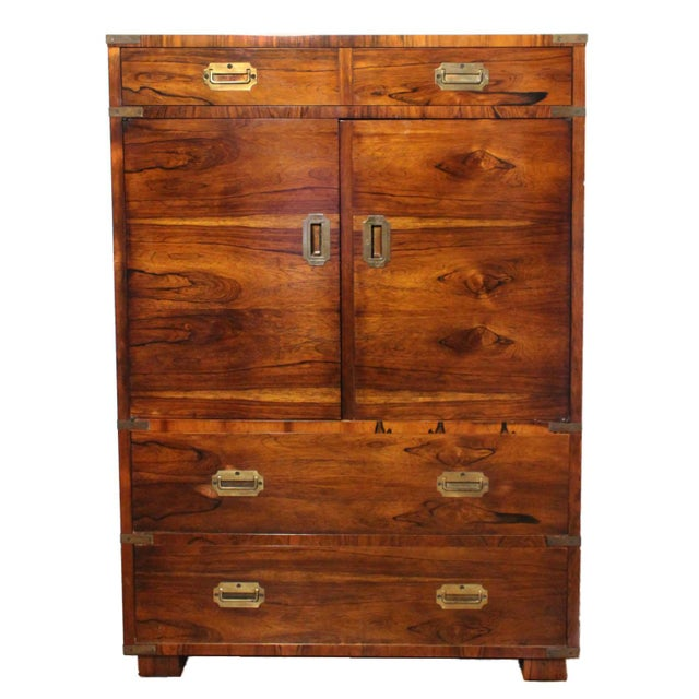 20th Century Campaign John Stuart Rosewood and Brass Highboy Dresser For Sale - Image 13 of 13
