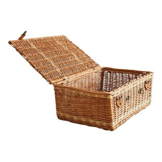Vintage Basket With Leather Buckles For Sale