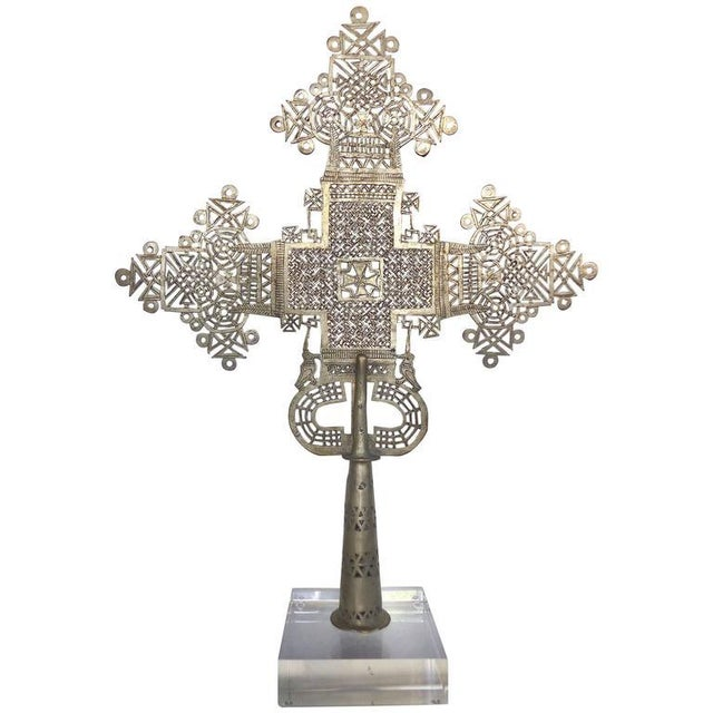 Metal 20th Century Ethiopian Coptic Cross on Lucite Base For Sale - Image 7 of 7