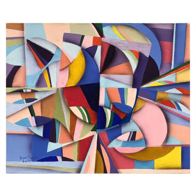 1994 Abstract Geometric Painting by Susan Johnson For Sale - Image 9 of 10