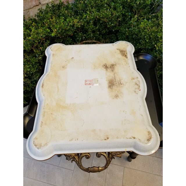 Beautiful non antique large porcelain tray with bronze mount handles and polychrome decorated wood base that can be...