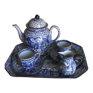 Williams Adams Blue and White China Tea Set - 7 Pc. For Sale