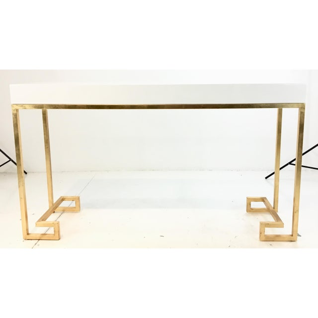 Worlds Away Contemporary Barsanti White Lacquer Console Table For Sale In Atlanta - Image 6 of 6
