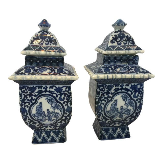 Lidded Blue and White Ginger Jars - a Pair - Image 1 of 4