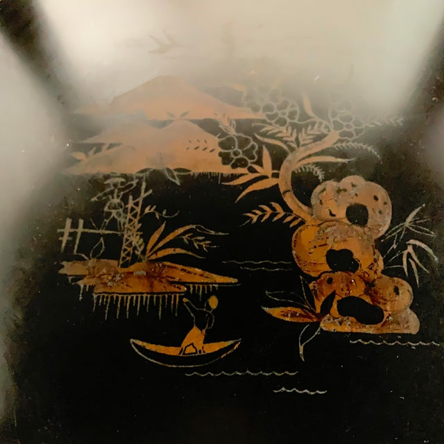 Metal 1930s Signed Katherine Henick Hand-Painted Chinoiserie Side Table For Sale - Image 7 of 13