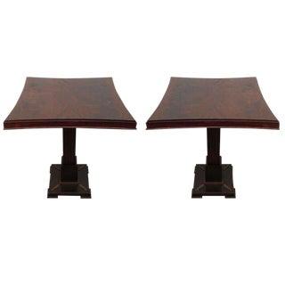 Pair James Mont Pedestal Tables For Sale