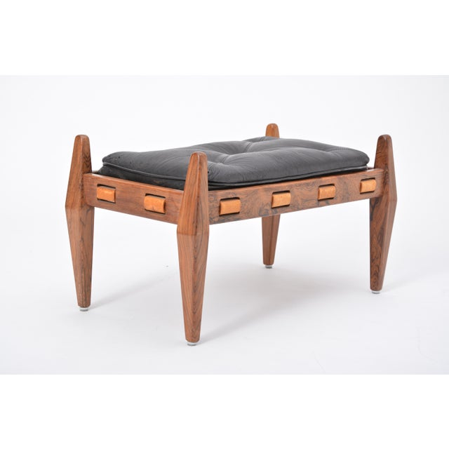 Black Vintage Leather Ottoman/ Foot Stool, Attributed to Sergio Rodrigues For Sale - Image 11 of 12
