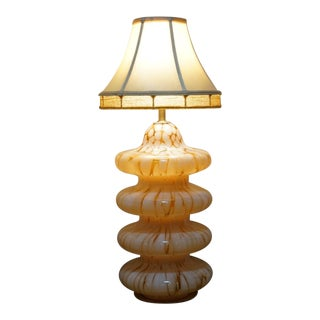 Italian Murano Carlo Nason Mazzega Pagoda Style Amber Tortoise Blown Glass Table Lamp For Sale