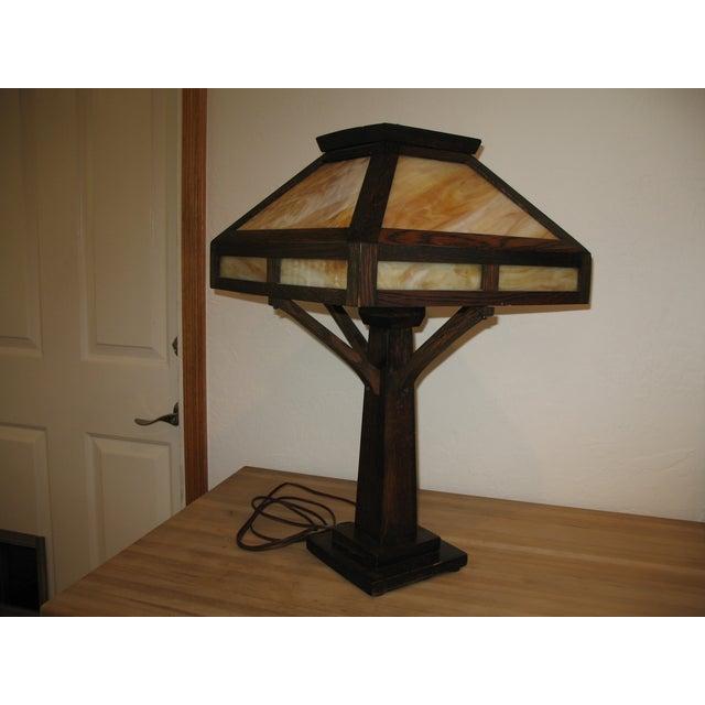 Vintage Antique Arts & Crafts Mission Oak Lamp - Image 2 of 7
