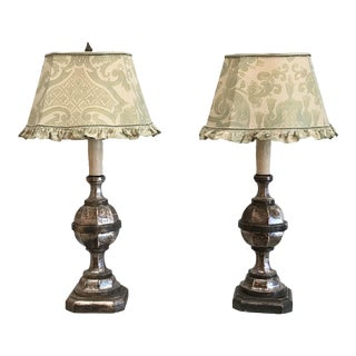 19th Century Traditional Fortuny Shade Topped Table Lamps - a Pair For Sale