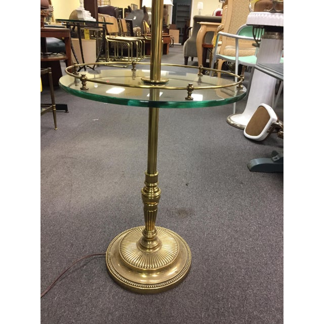 Brass Floor Lamp With Glass Tray Table: Rare Vintage Stiffel Brass Finish Glass Side Table With