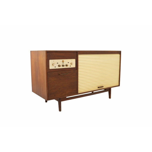 Jens Risom Mid Century Walnut Tambour Door Stereo Console Credenza For Sale - Image 9 of 9