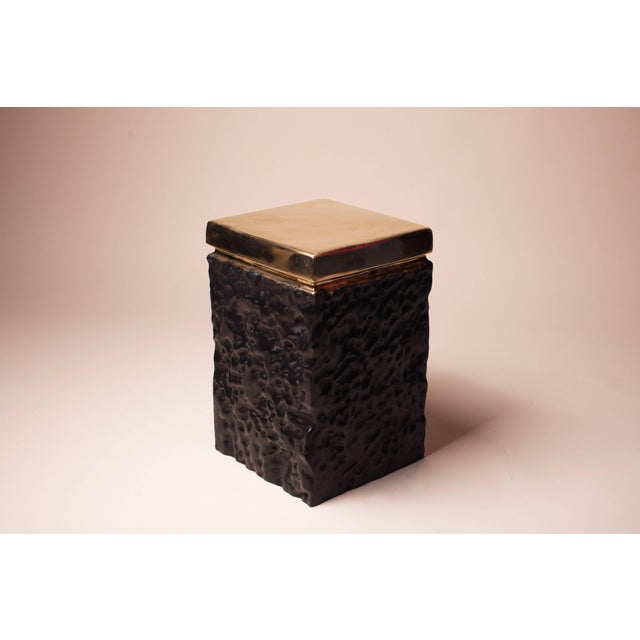 Black and Bronze Hand Casted Stool For Sale - Image 4 of 8