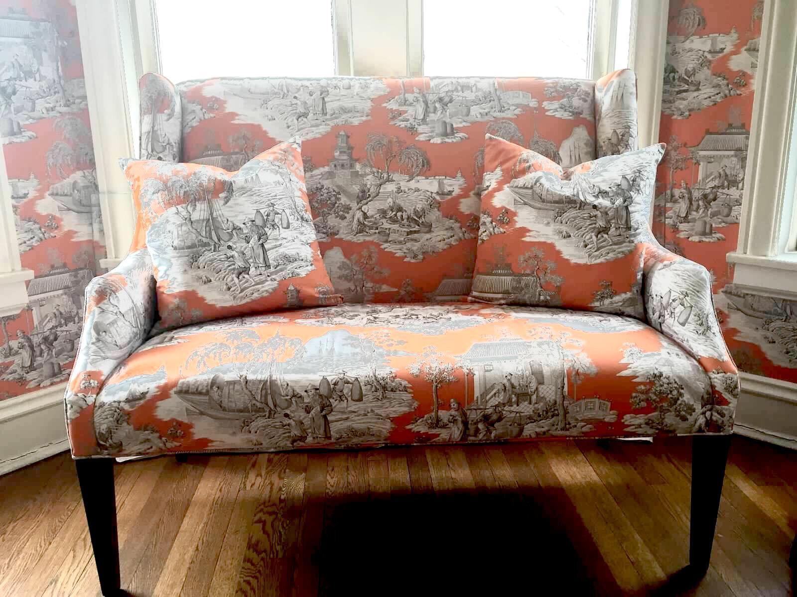 Ballard Designs Toile Chinoiserie Upholstered Blair Wingback Sofa