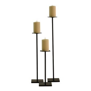 Contemporary Minimalist Blackened Steel Candleholder Set by Scott Gordon For Sale