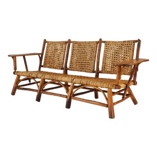 Rustic Old Hickory Woven Settee For Sale