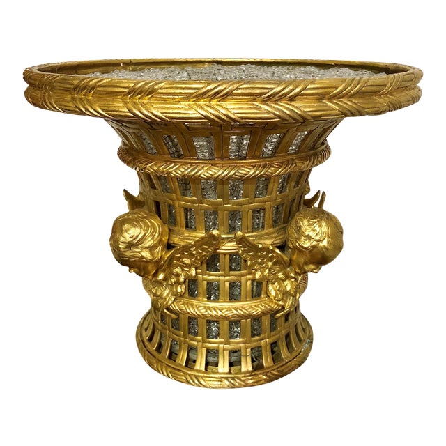 Pair Antique French Bronze d'Ore and Crystal Cachepots, Circa 1890. For Sale