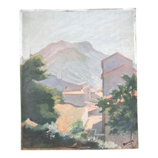 Vintage Impressionistic French Landscape of RooftopsOil Painting For Sale