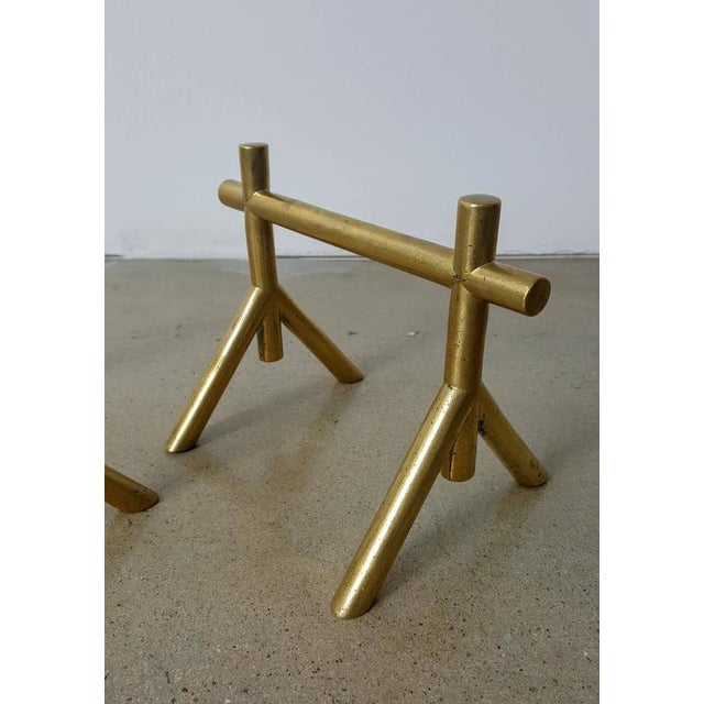 1900s English Attributed to Christopher Dresser Petite Solid Brass Andirons - a Pair For Sale - Image 4 of 5