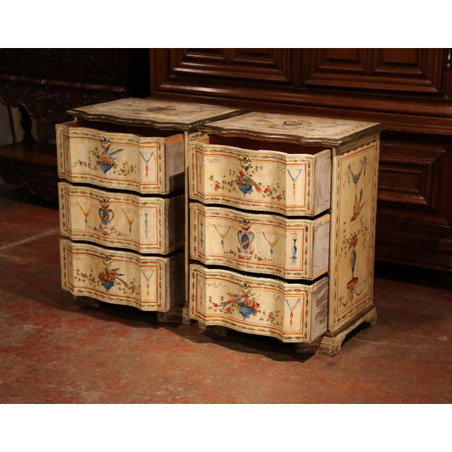 Paint 19th Century Italian Carved Chests of Drawers With Bird Painted Decor - a Pair For Sale - Image 7 of 13