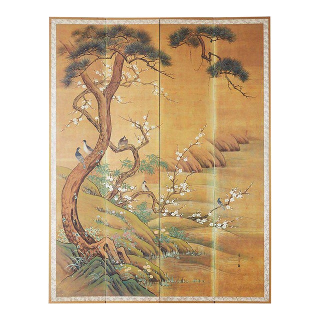 Japanese Edo Style Four-Panel Spring Landscape Screen For Sale