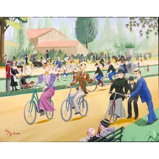 Bicycle Lesson by Artist W Stone For Sale
