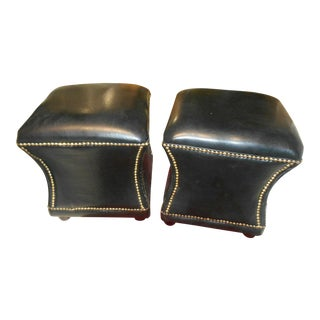 Vintage Black Leather Ottoman / Seats With Brass Nail Heads - A Pair For Sale