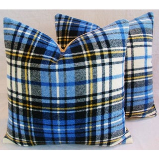 "Blue Scottish Tartan Plaid Wool Pillows 24"" Square - Pair Preview"