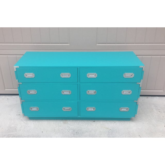 Vintage Dixie Turquoise Painted Campaign Dresser For Sale - Image 10 of 10