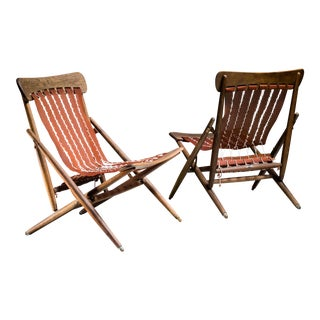 Maruni Studio Foldable Lounge Chairs, Japan, 1940s For Sale