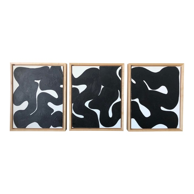 Eternity Framed Abstract Triptych in Black and White For Sale