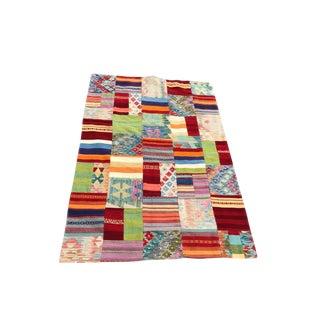 Vibrant Patchwork Design Rug Handmade in Afghanistan For Sale
