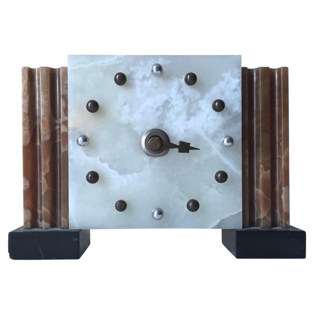 Antique French Art Deco Onyx Clock - Image 1 of 6
