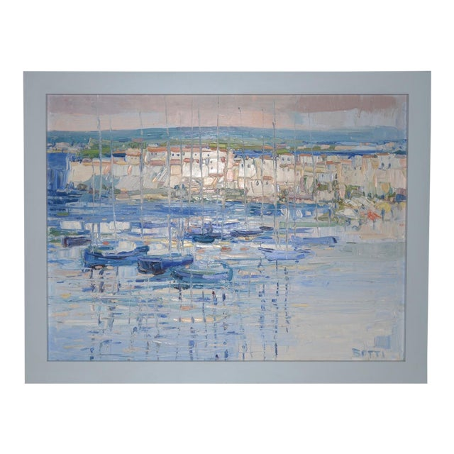 "Italo Botti ""Mast Reflections"" Impasto Oili Painting C.1987 For Sale"