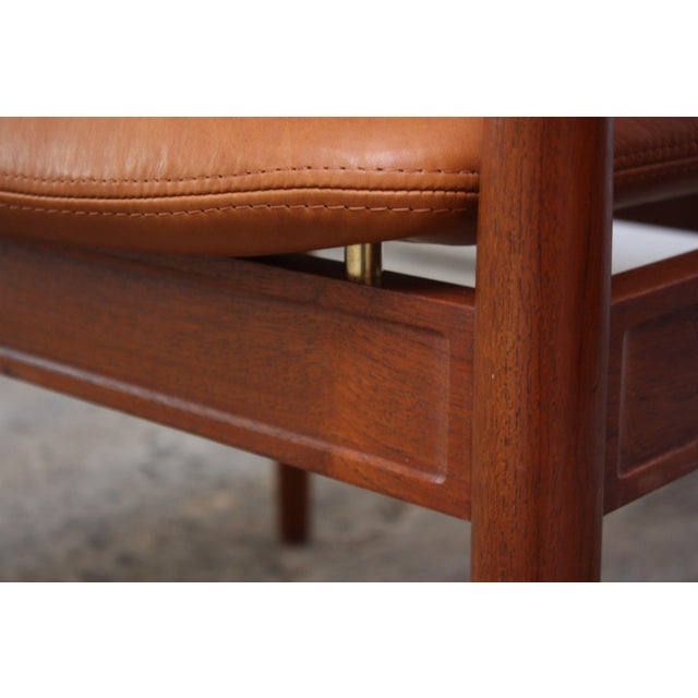 Brown Pair of Finn Juhl Diplomat Armchairs for France & Son in Leather and Teak For Sale - Image 8 of 13
