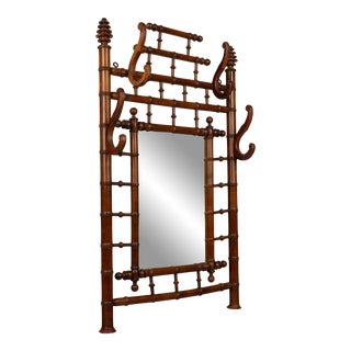 19th Century French Bamboo Hall Tree With Mirror For Sale