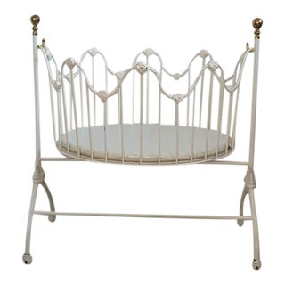 White Corsican Iron Baby Cradle With Custom Bedding For Sale