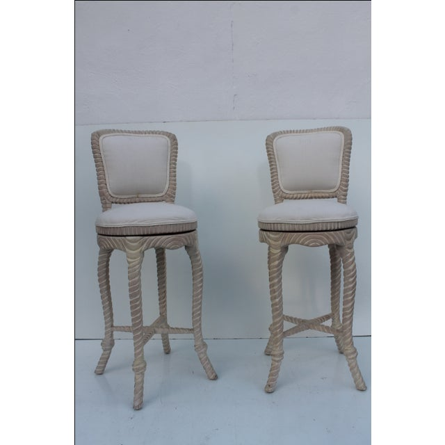 Italian Carved Rope & Tassel Bar Stools -- A Pair - Image 2 of 11