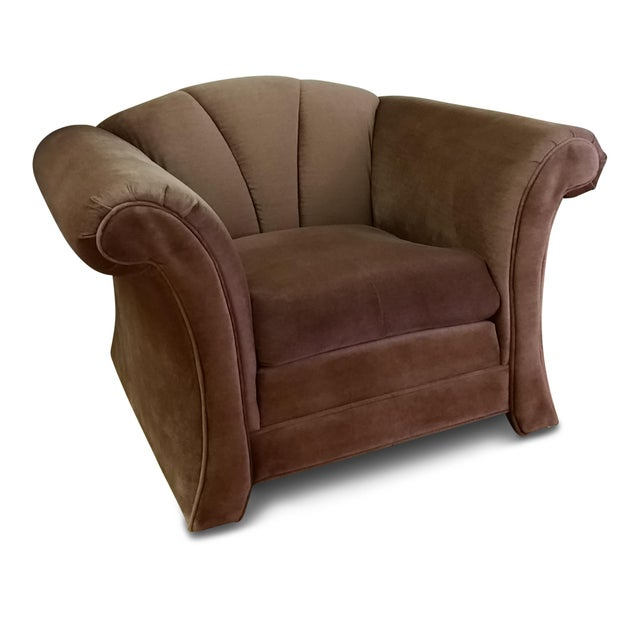 1980s Mauve Upholstered Clamshell Arm Chair - Image 7 of 7