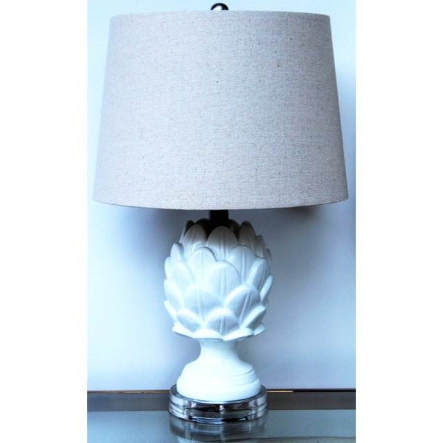 Contemporary White Artichoke Table Lamps - a Pair For Sale - Image 9 of 10