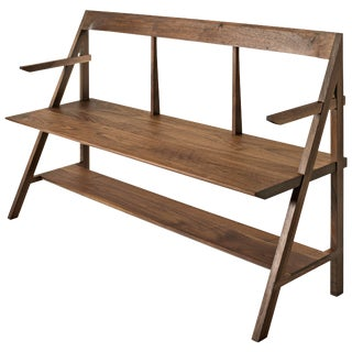 Cantilever Series Natural Black Walnut Arm Bench by Phaedo For Sale