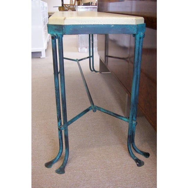 Mid-Century Modern An Iron Console With Crackled Wood Top For Sale - Image 3 of 6